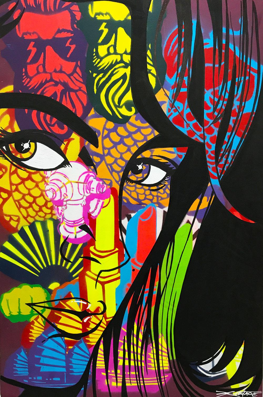 """Junk Life"" Mixed Media Spray Paint and Graffiti Marker 60 x 90 cm 2017"