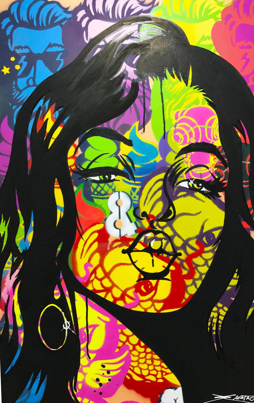 """""""The Kiss"""" Mixed Media Spray Paint and Graffiti Marker 60 x 90 cm 2017"""