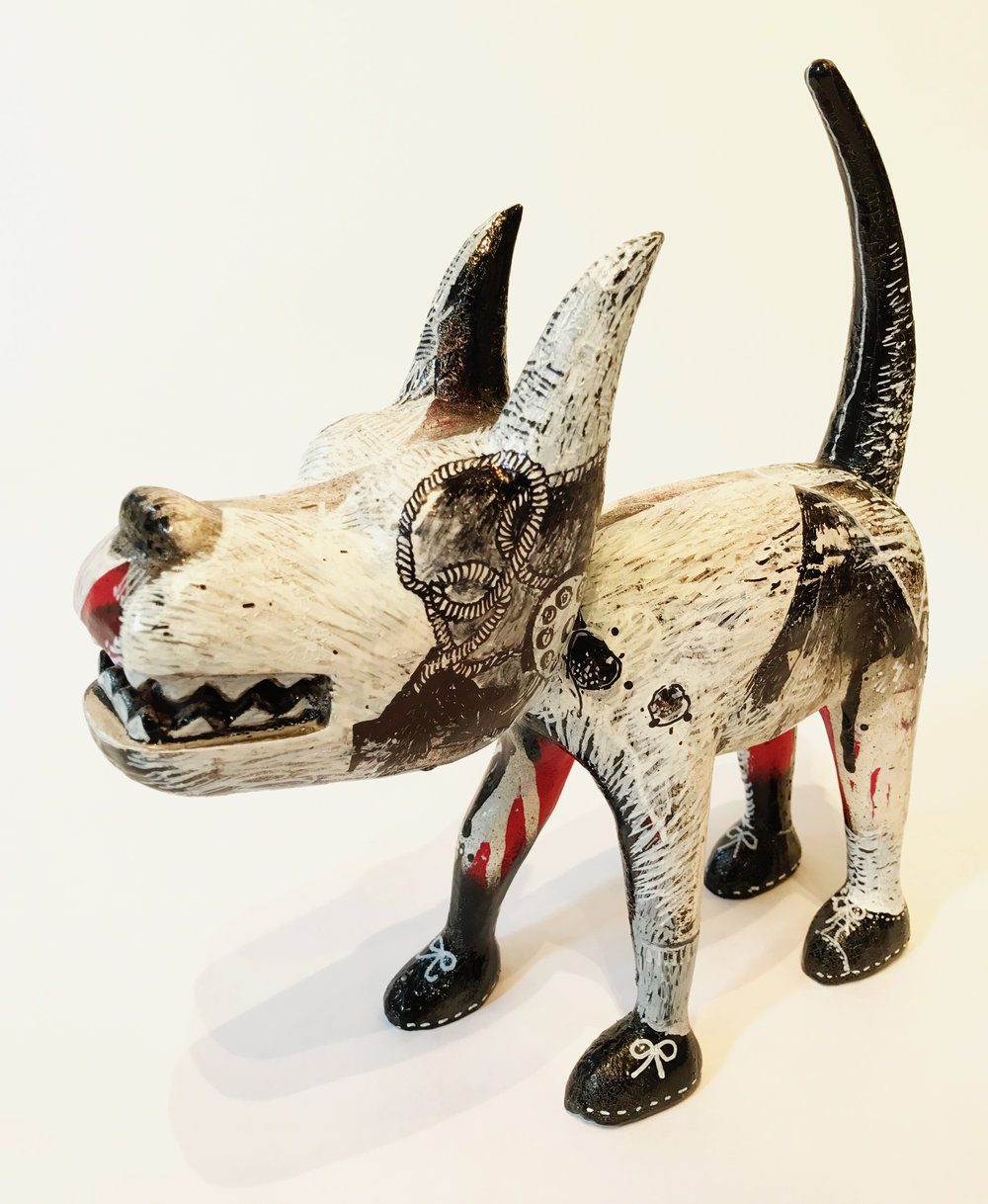 """Dog 6"" Sculpture, unique item 27 x 24 x 9 cm 2010"