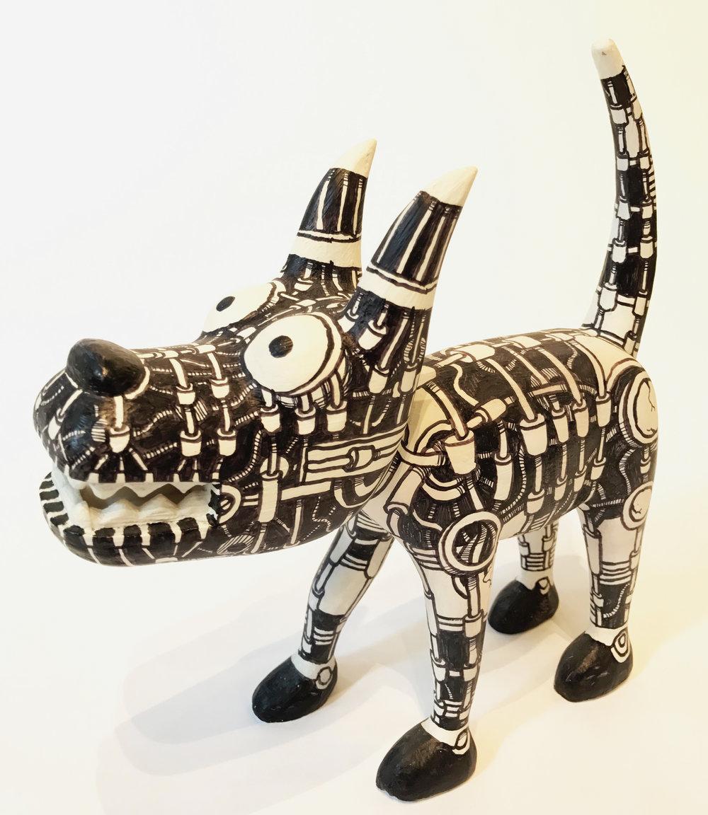 """""""Dog 7"""" Sculpture, unique item 27 x 24 x 9 cm 2010"""