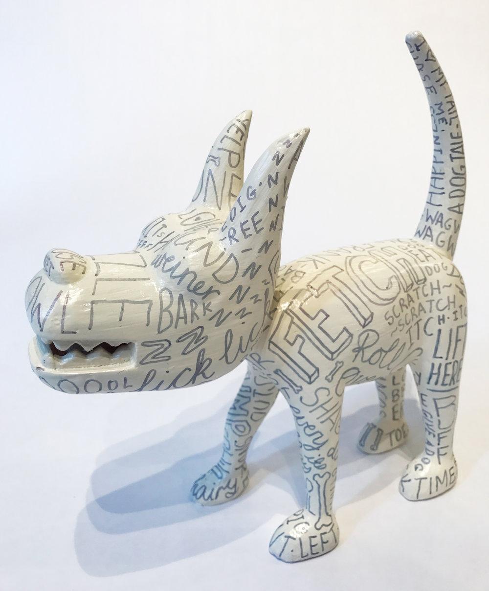 """""""Dog 16"""" Sculpture, unique item 27 x 24 x 9 cm 2010"""