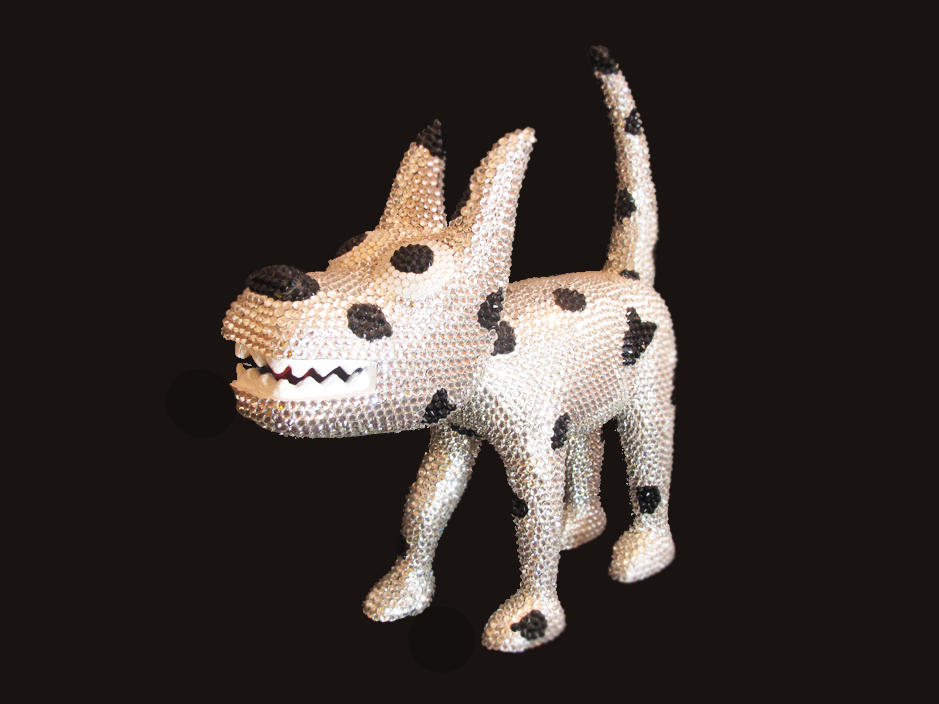 """Dog 19"", Swarovski Cristals Sculpture, unique item 32 x 32 x 9 cm 2010"