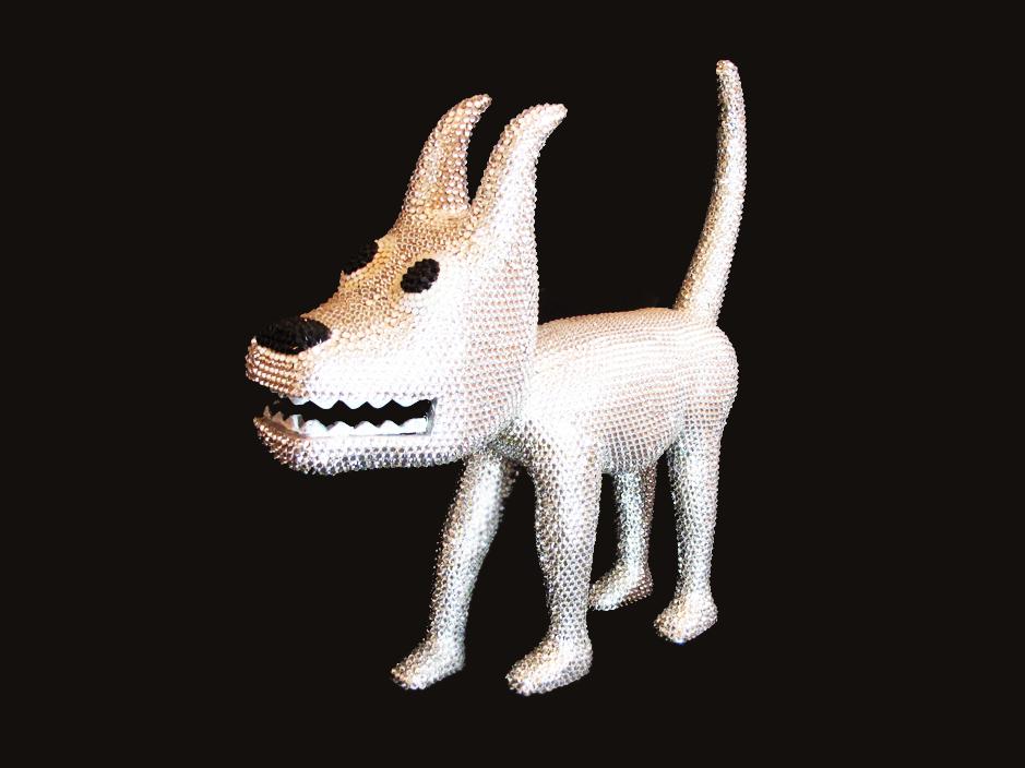 """Dog 20"" Swarovski Cristals Sculpture, unique item 32 x 32 x 9 cm 2010"