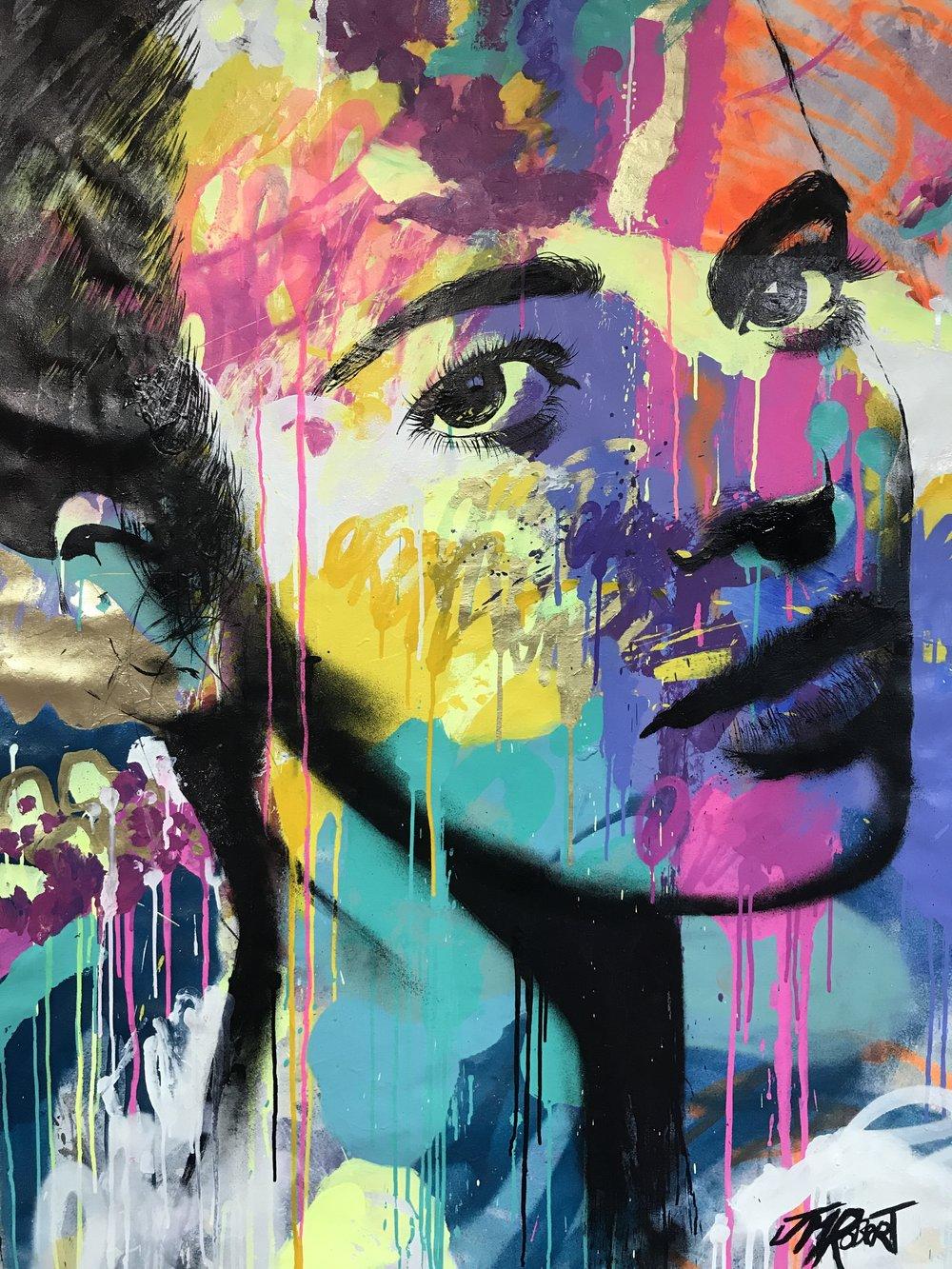 """She looks away"" Spray, Ink, Acrylic 142 x 96 cm 2018"