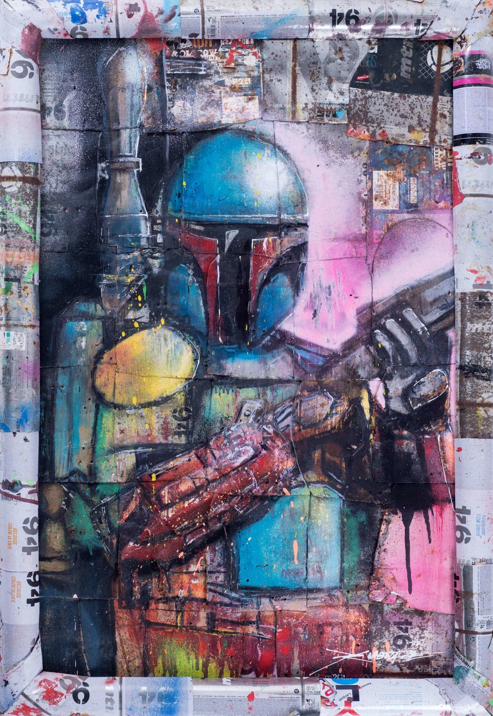 """Boba Fet"" Spray paint, graffiti markers, ink on the recycled spray can base 97 x 66 cm 2018"