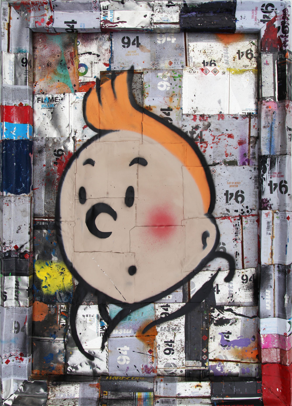 """Tin Tin 2"" Stencil and Hand Spray Paint on deconstructed Can Background 60 x 90 cm 2016"