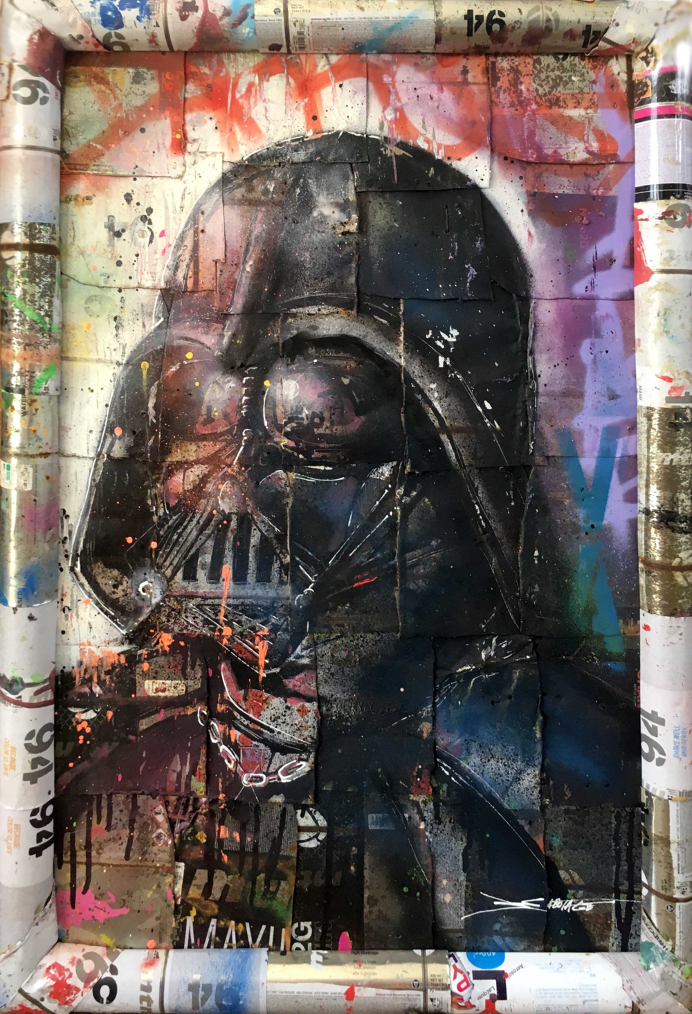 """Darth"" Stencil and Hand Spray Paint on Deconstructed Can Background 60 x 90 cm 2018"