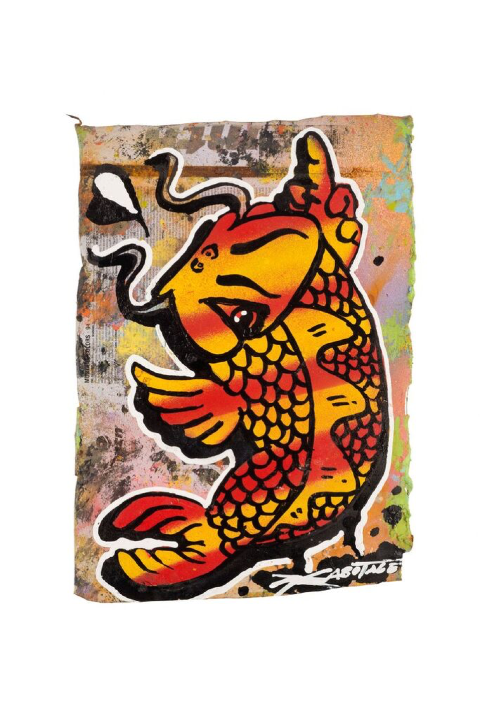 """Flipping Koi Flame""  Mini Can Can Collection Spray paint and markers on CAN-Vas 15 x 21 cm 2016"