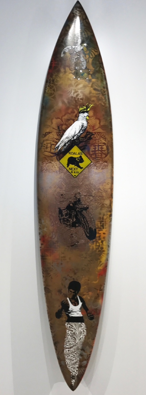 """Koalas next 4 km""  Mixed media on surfboard  150 x 30 cm  2011"