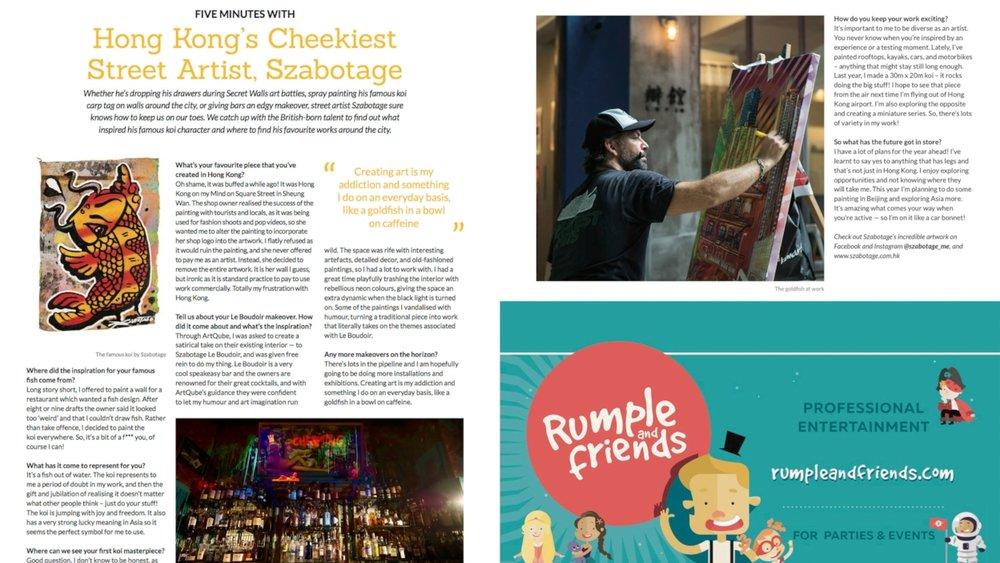 ">  > March 2018: ""Hong Kong's Cheekiest Street Artist"" Art Supermarket's artist Szabotage interview in   Localiiz Digest"