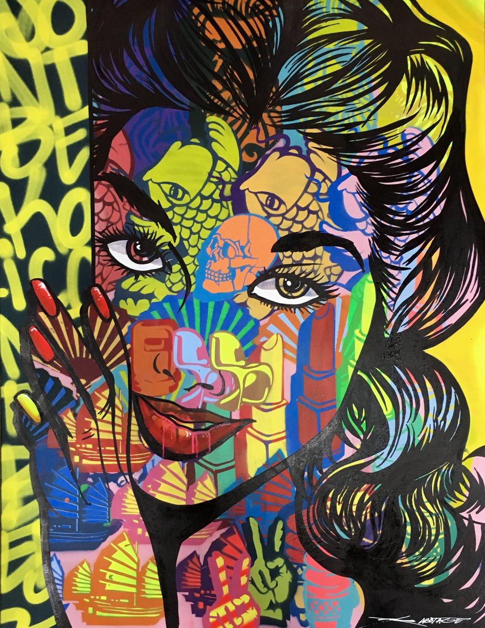 """Don't Be Koi"" Spray Paint, Stencil and Graffiti Marker 91 x 122 x 4 cm 2018"