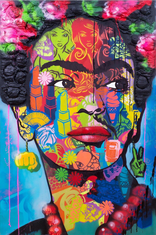 """Frida"" Spray Paint, Stencil, Graffiti Marker and expandable foam 101 x 152 cm 2018"