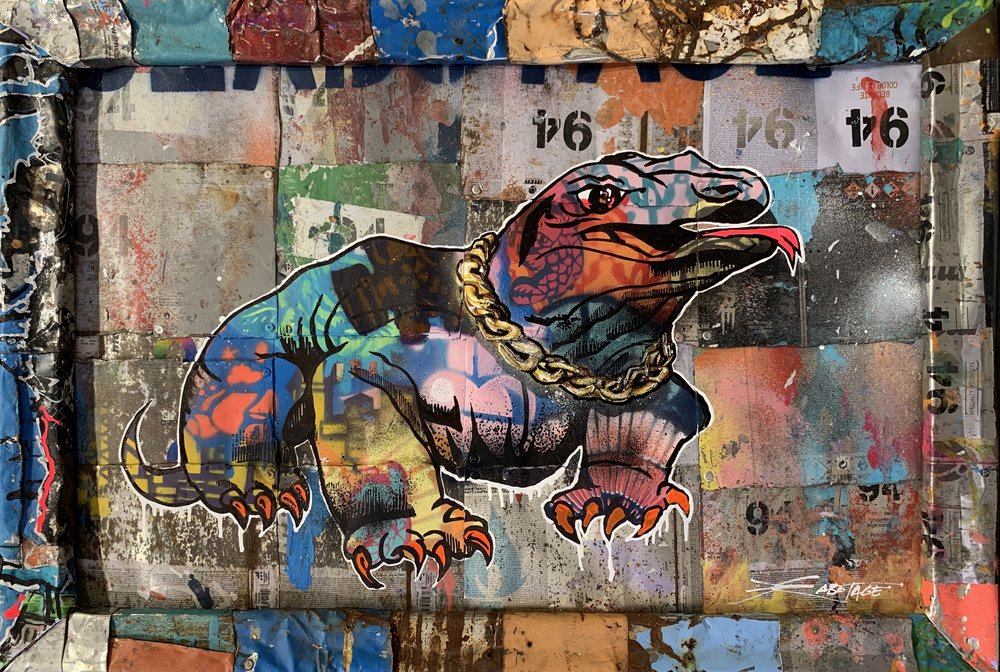 """""""Montana Lizard"""" Stencil Mixed Media Spray Paint and Graffiti Markers on deconstructed Can Background 79 x 54 cm 2019"""