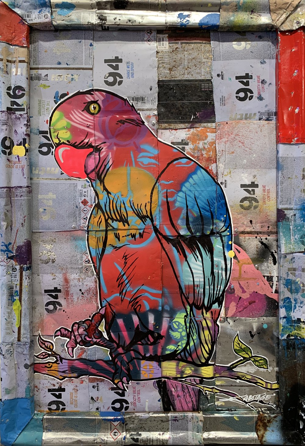 """""""Parrot"""" Stencil Mixed Media Spray Paint and Graffiti Markers on deconstructed Can Background 78 x 54 cm 2018"""