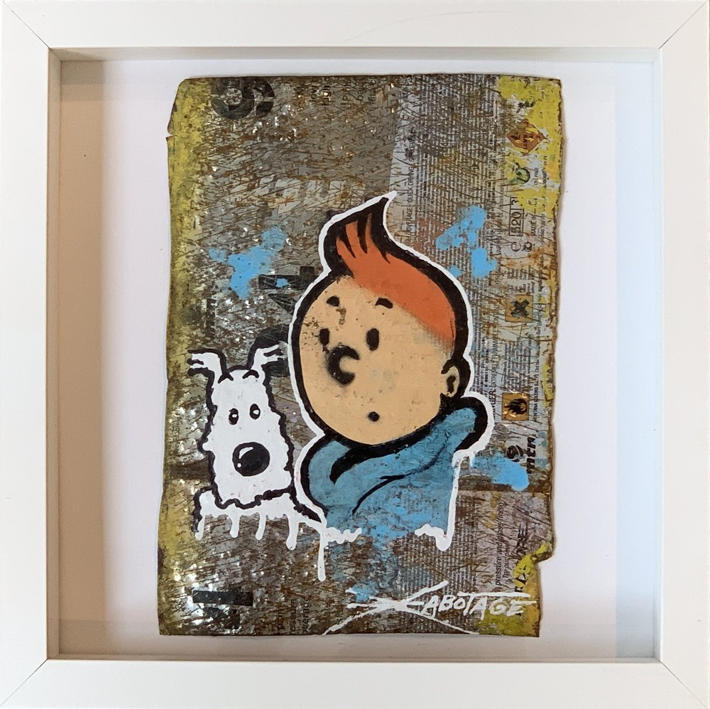 """""""Mini Can Can Tin Tin and Snowy"""" Stencil Mixed Media Spray Paint and Graffiti Markers on deconstructed Can Background Framed 26 x 26 cm 2018"""
