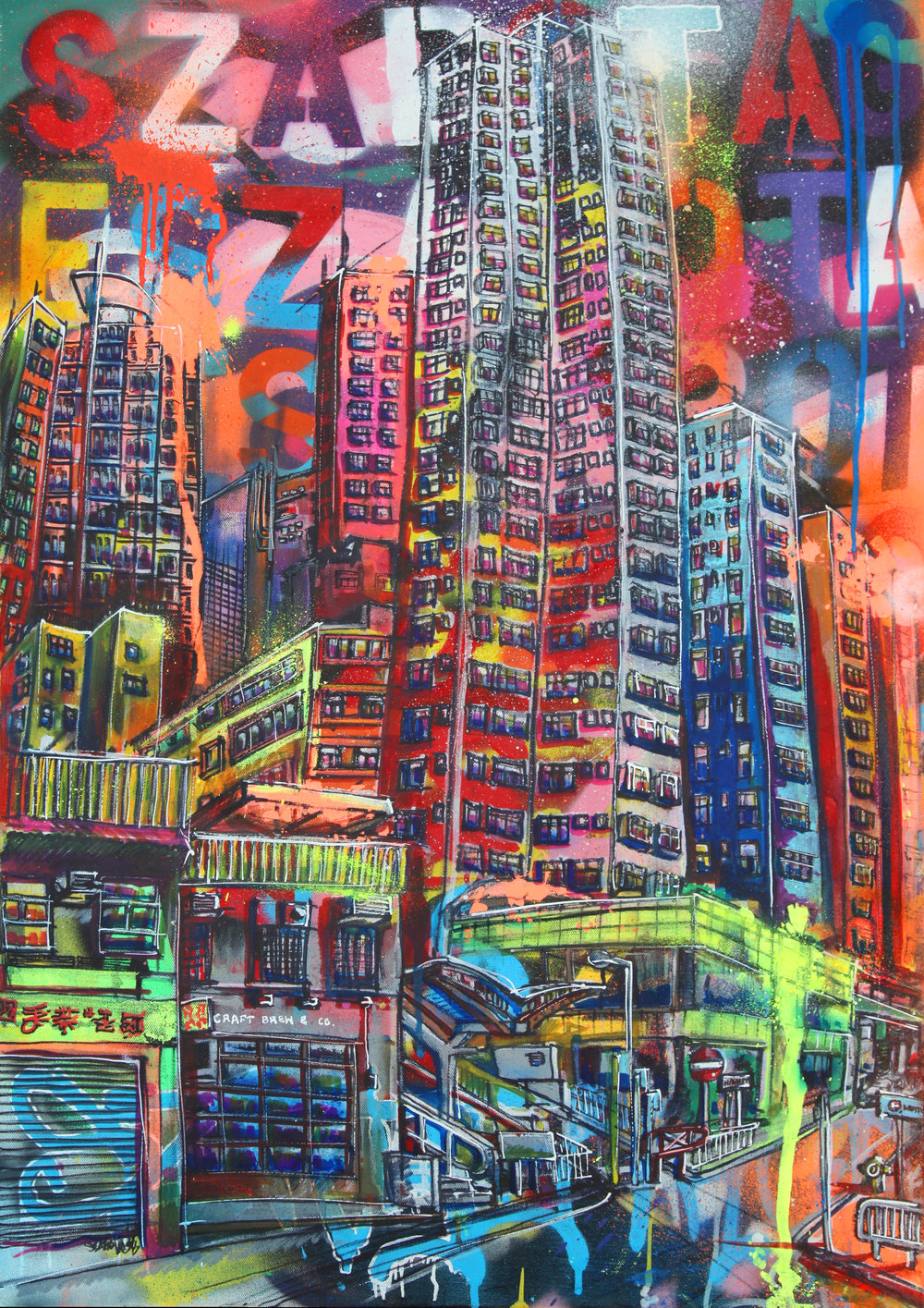 """Sai Ying Pun High Street"" Spray Paint and Graffiti Markers 60 x 92 cm 2017"