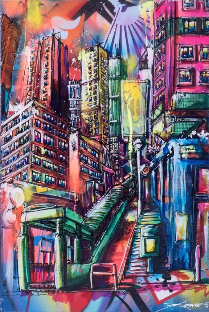 """Staunton"" Spray paint stencil and graffiti markers 60 x 92 cm 2018"