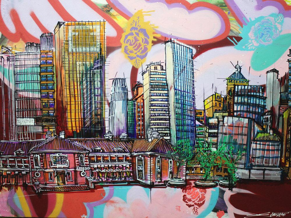 """Tai Kwun"" Spray paint stencil and graffiti markers 101 x 76 cm 2018"