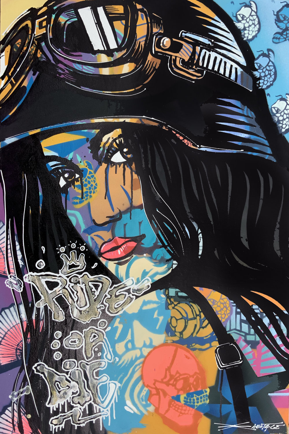 """""""Ride or Die"""" Spray Paint, Stencil, Graffiti Marker and Ink 61 x 91 cm 2019"""