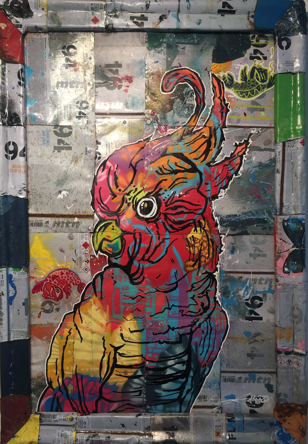 """""""Birdie Macaw"""" Stencil Mixed Media Spray Paint and Graffiti Markers on deconstructed Can Background 78 x 54 cm 2018"""