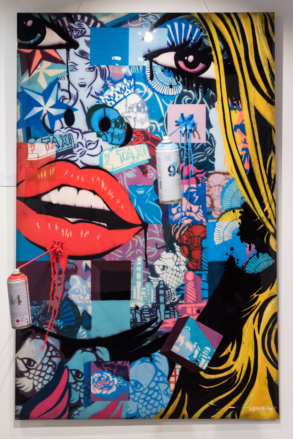 """""""Dynasty"""" Spray Paint Stencil and Ink with a Resin Finish 102 x 158 cm 2019"""