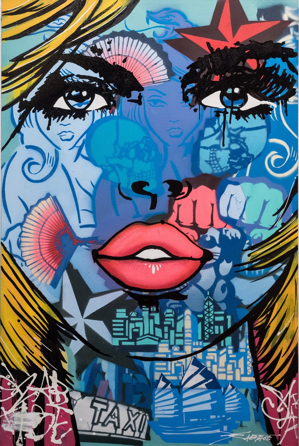 """""""SUBLIMEY"""" Spray Paint, Stencil, Graffiti Marker and Ink 61 x 91 cm 2019"""