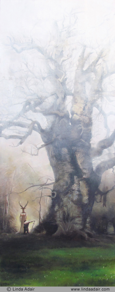 "The Oak of Windsor Wood, 25""x 10"", oil on panel. Sold"