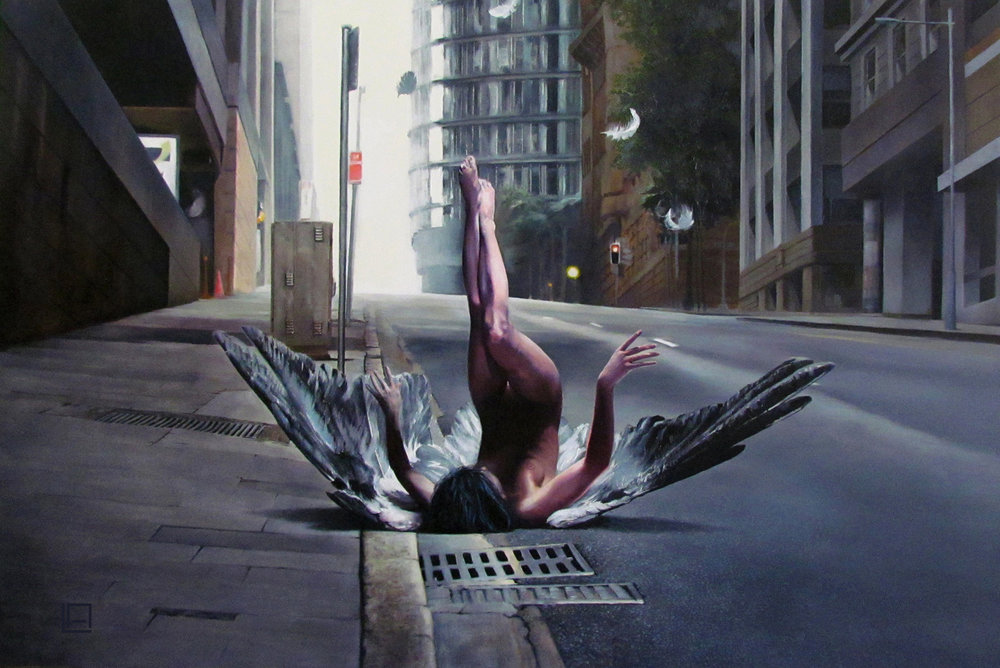 "Fallen, 36""x24"", oil on panel. Sold"