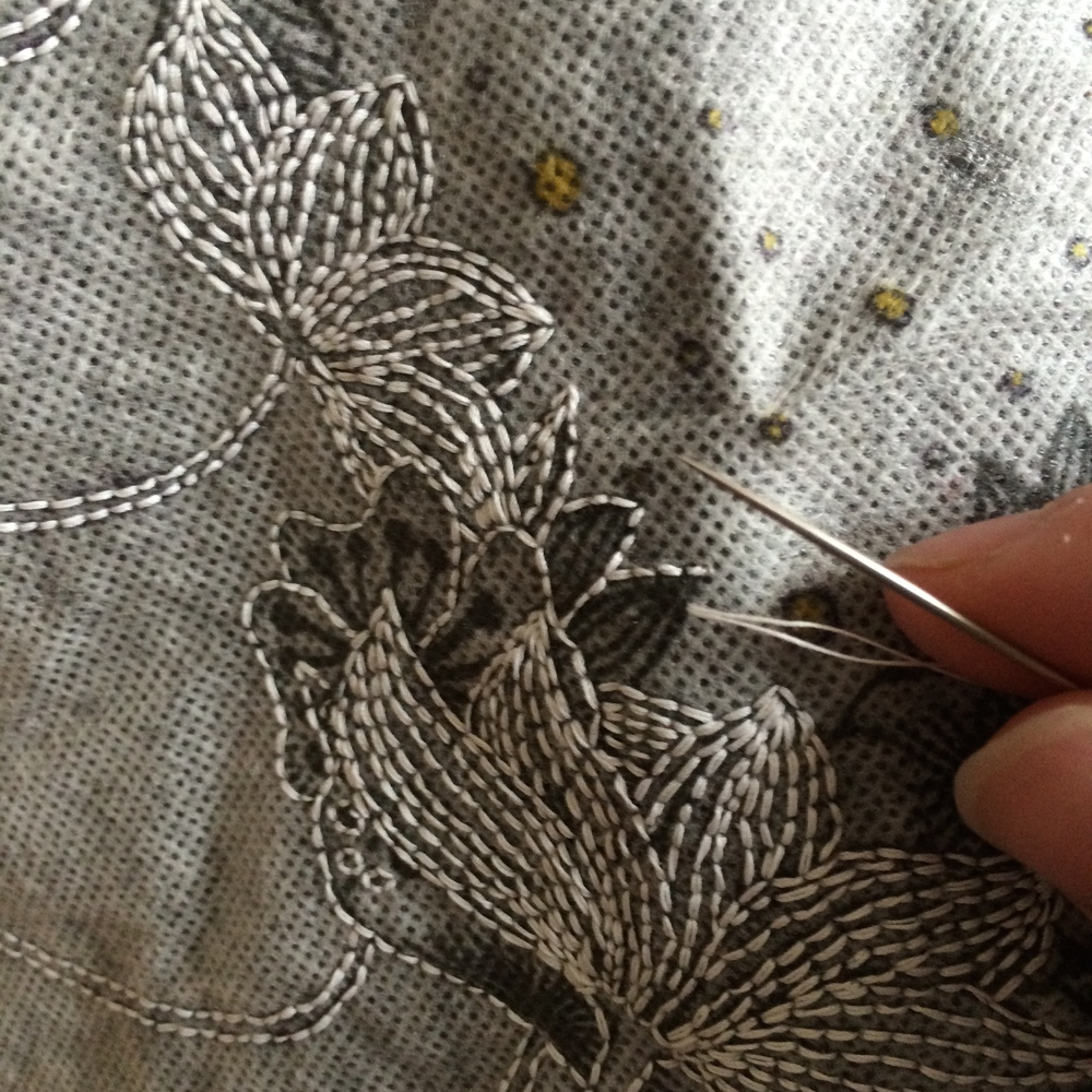 Embroidery, based on one of the illustrations from The Garden of Thoughts (Le jardin des pensées).