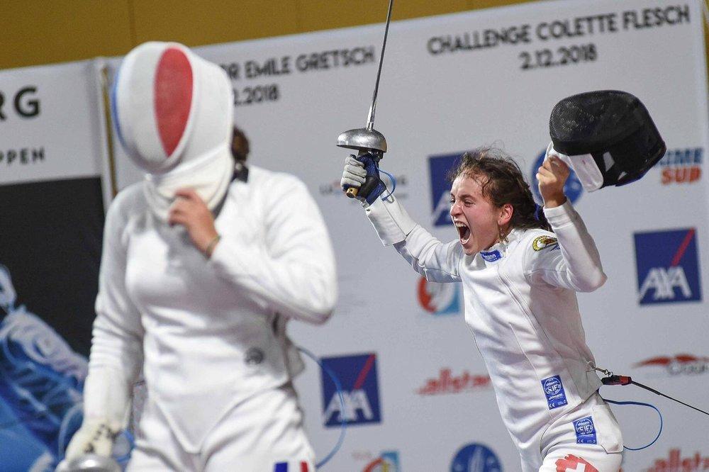 Angeline Favre vom Fechtclub Bern in Luxemburg (3. Platz).