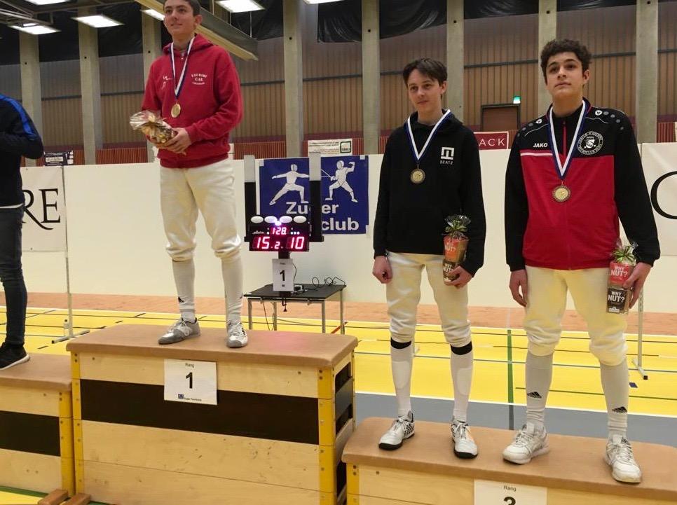 3. Platz, U17: Sidal Spörry (ganz rechts), Fechtclub Bern.
