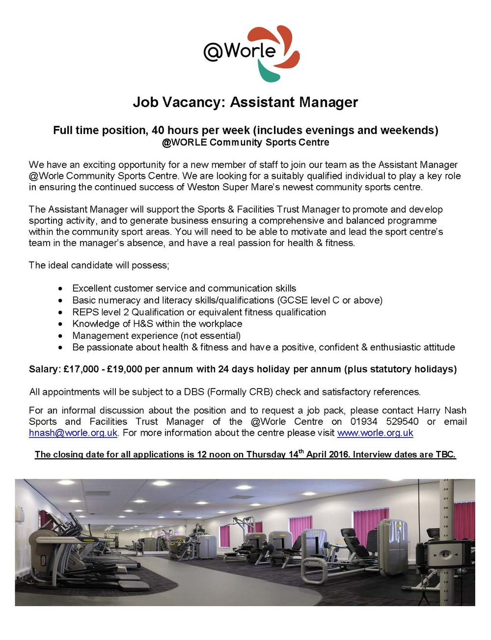 assistant manager wanted worle