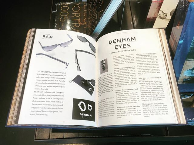 New @mendobooks @denhamthejeanmaker 10 years of Denham book with a great feature for Fan Optics. Book available at Mendo in Amsterdam. #p399 #fanoptics #experimentsineyewear #sunglasses #denhamthejeanmaker #denham #10years #mendo