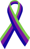 The International Symbol for Narcissistic/Borderline Abuse:                                                                       Blue = Child Abuse + Purple = Partner Abuse +Green = Mental Illness