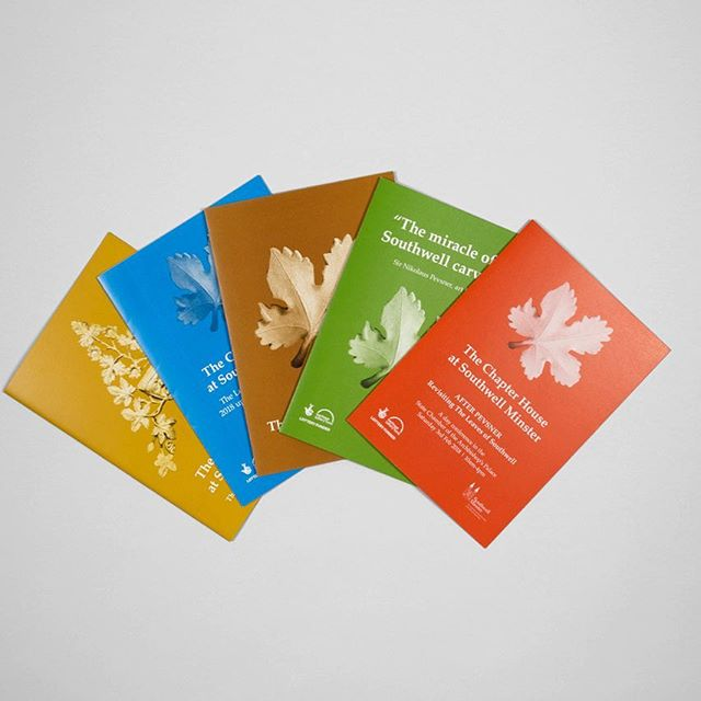 Enjoying autumnal colours of set of leaflets designed for @southwellminster photo by @nicola_tree #leaves #graphicdesign