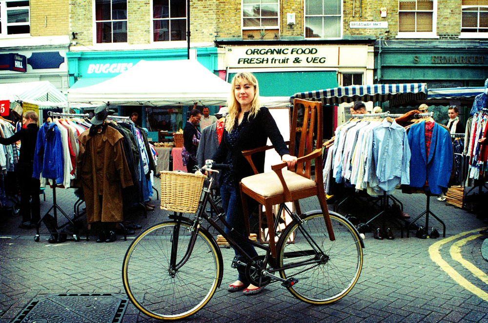 Broadway market with my lovely £5 chair. Photo by Sophie Allen.