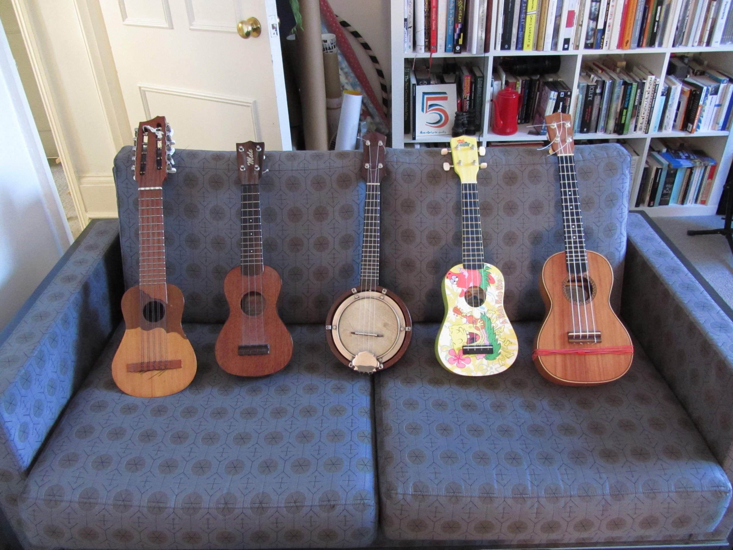 All the little ukuleles lined up.