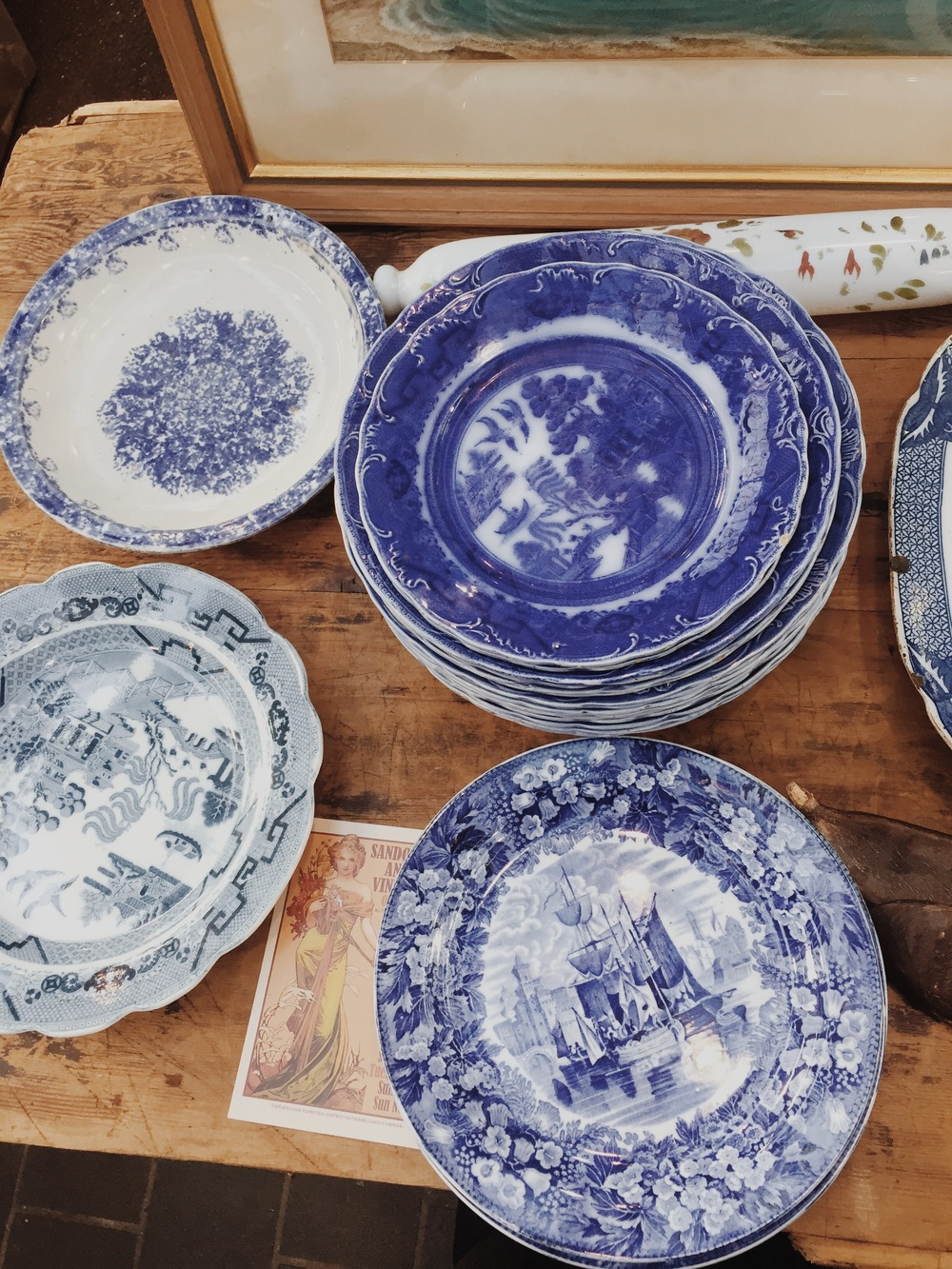 Vintage blue & white china at Spitalfield's Antiques Market
