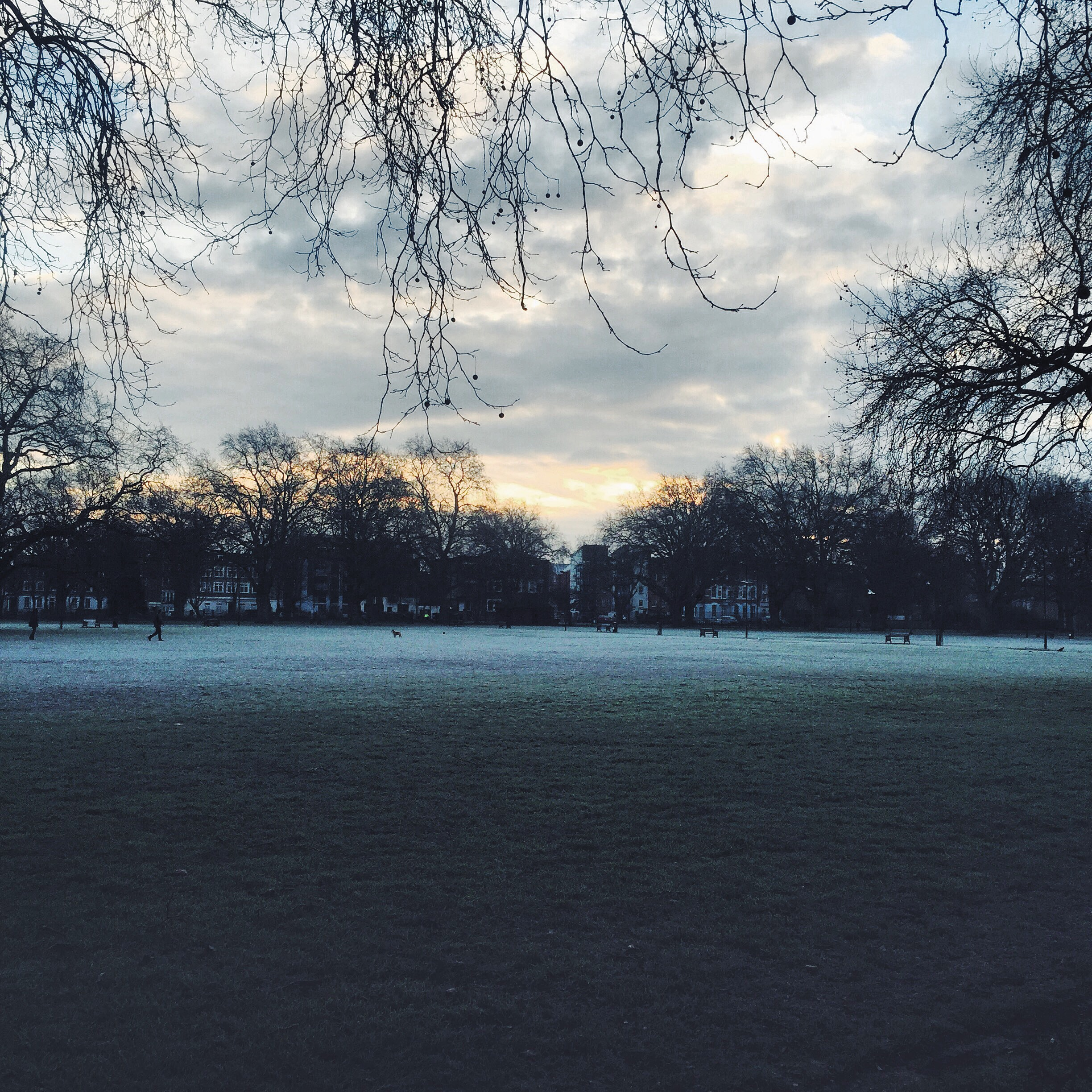 A frosty winter London fields morning