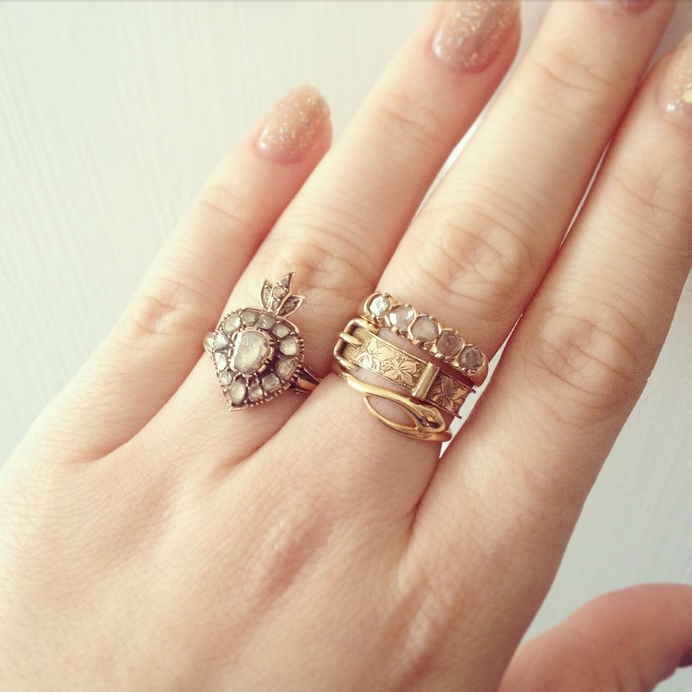 The modern collector: Engagement ring with other rings