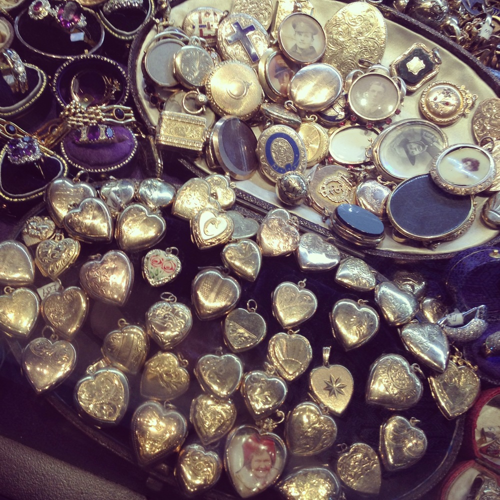Gold hearts on a dealer's stall I found whilst jewellery hunting in London
