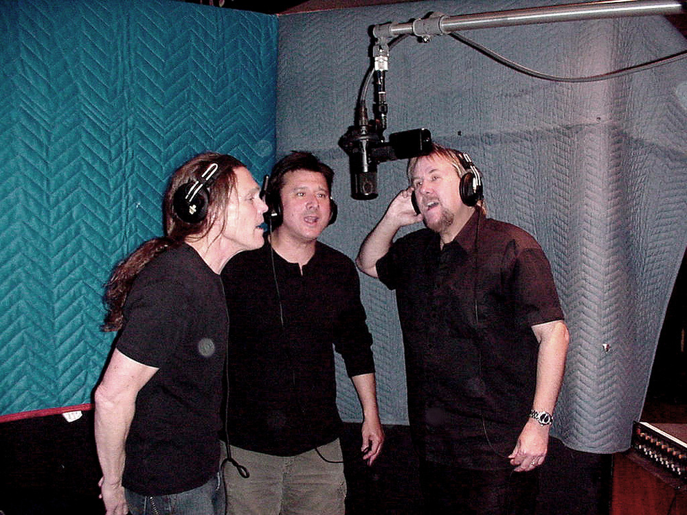 "Eagles' Timothy B Schmidt, Steve Perry, and David harmonizing together for David & Steve's song ""(Almost A Part of) A Brand New Start"" on David's 2005 ""Secret of Movin On"" album"