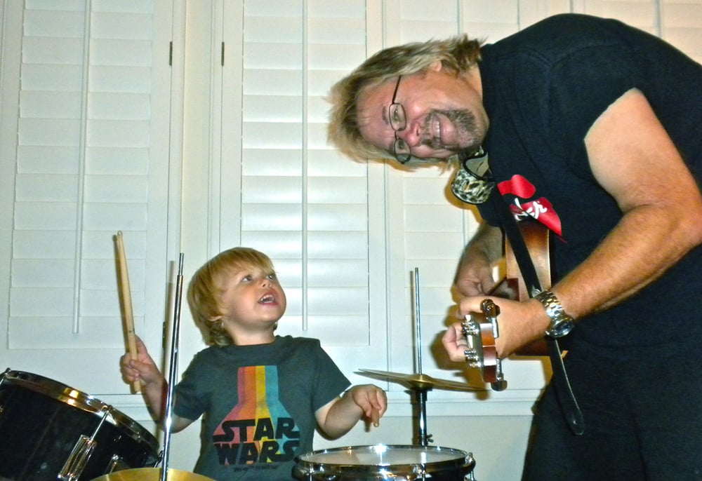 Son Jackson on drums at age 4 already telling Dad when to come in on guitar!
