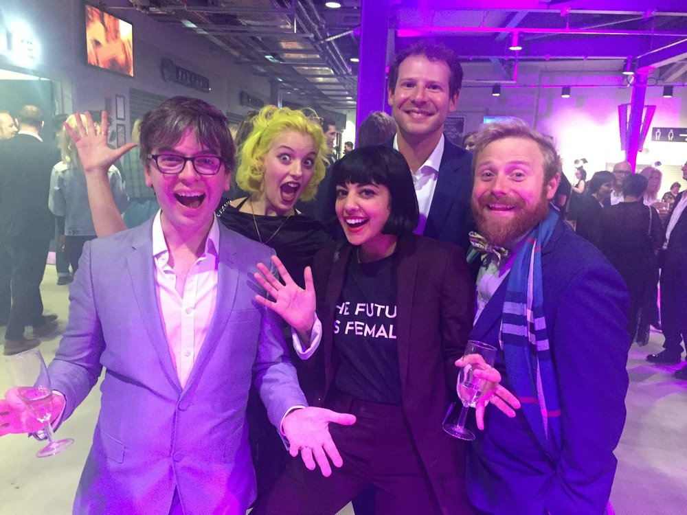 Team Modern Mann at the UK Radio Academy Awards 2016.  Front Row: Producer Matt Hill, Music Associate Fuzz Choudhrey, Presenter Ollie Peart Back Row: Presenter Alix Fox and Host Olly Mann