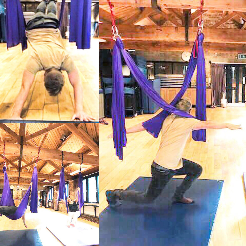 Ollie tries his hand at aerial pilates