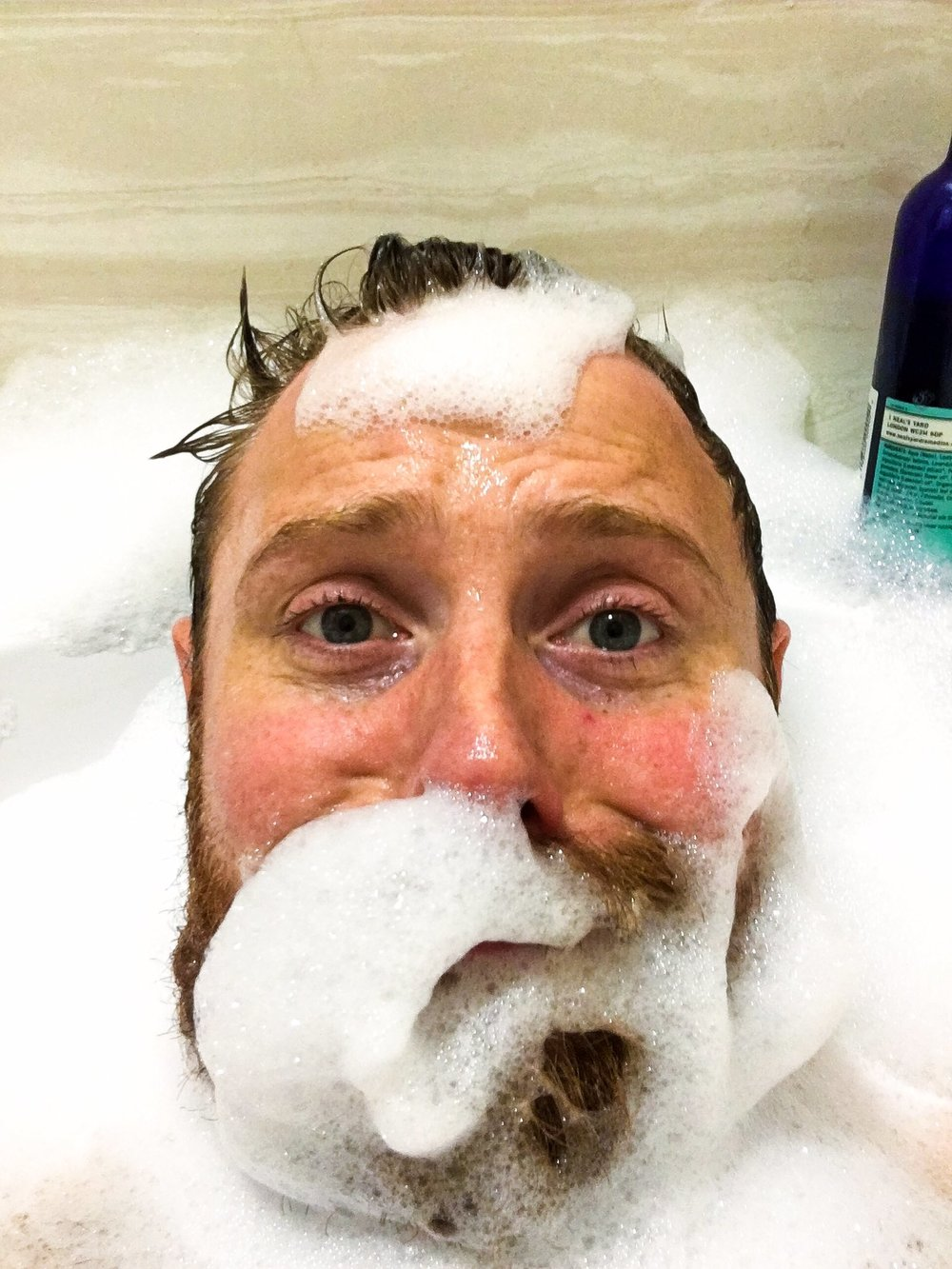 Peart takes a bath, in the name of research