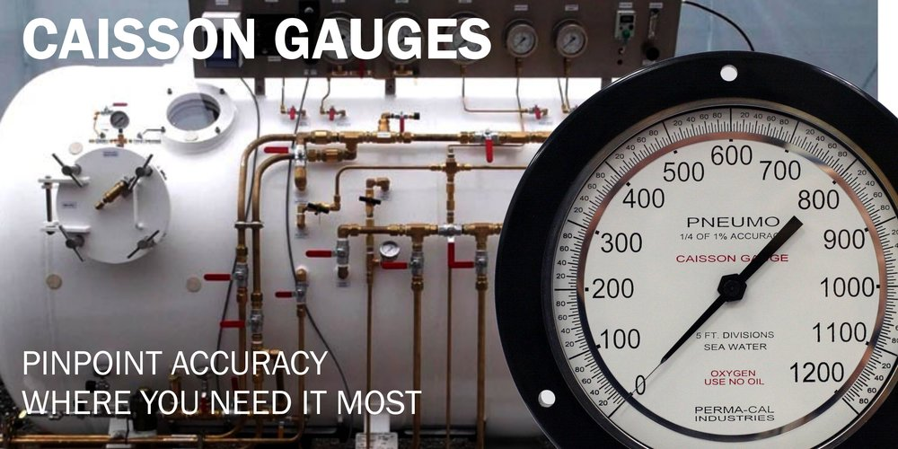 Caisson gauges indicate pressure relative to the ambient environment and are typically used in hyperbaric chambers.  They feature a knife-edged pointer for precision readings and include calibration certificates.