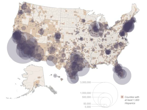 Map of Growing Population who Identify as Latino/Hispanic