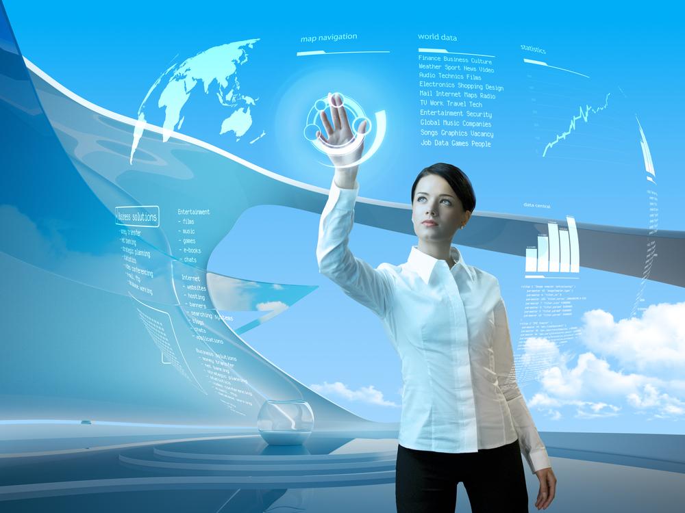 Woman touching digital map