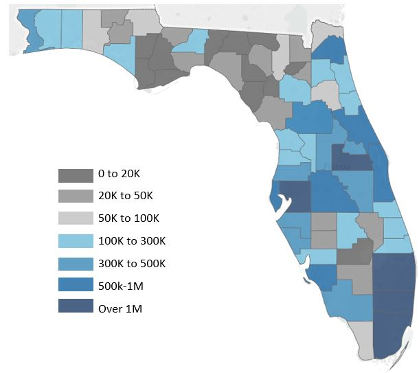 Map of total population in Florida Counties